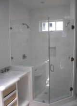 "1/2"" Clear Tempered Glass Frameless 2-Panel Neo-Angle Shower Enclosure using Clips on the Stationary Panel with three Glass to Wall Hinges and a 6"" Back to Back Handle on the Door"