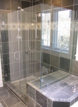 "3/8"" Clear Tempered Glass 90 Degree Shower Enclosure with the Glass Notched over the Tub Deck and Bench Seat using 90 Degree Glass to Glass Clips, Two Hinges on Door and a 6"" Back to Back Handle with Washers in Chrome Trim"