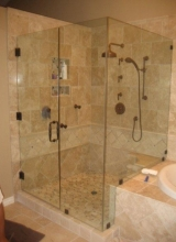 "3/8"" thick Clear Tempered Glass Frameless 90 Degree Shower Enclosure with the Glass Notched to go over the Tub Deck, 3 Door Hinges, Clamps on the Stationary Panels, and an 8"" Back to Back Victorian Style Handle in Oil Rubbed Bronze"